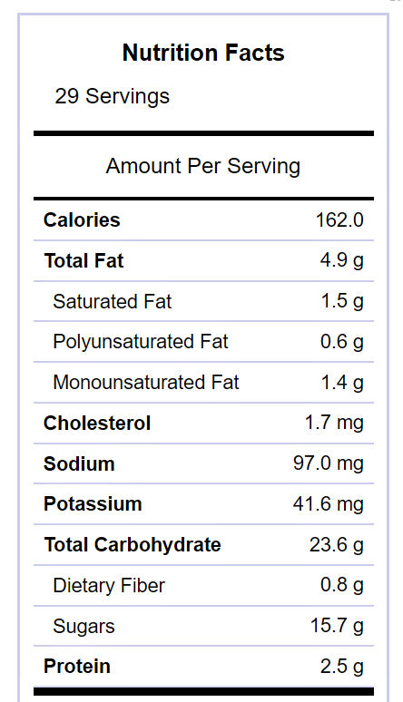Snack mix nutritional label.