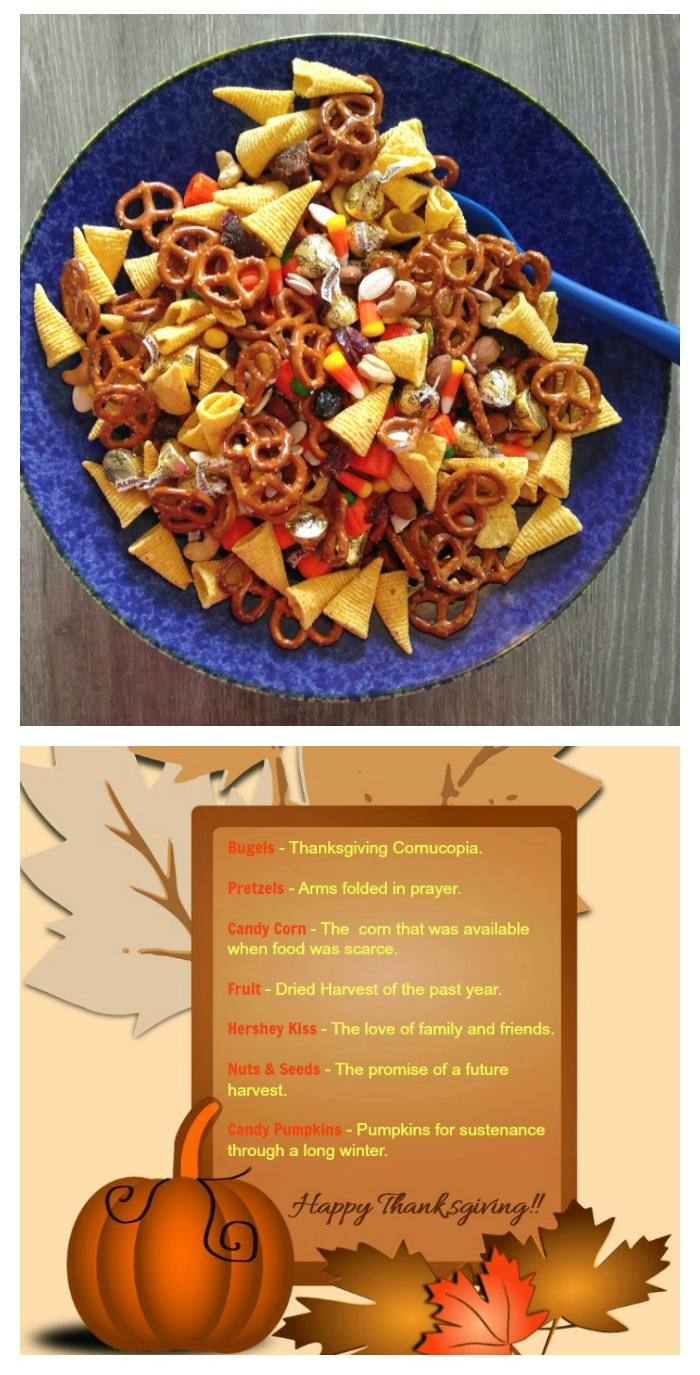 Thanksgiving snack mix in a blow with a spoon, and harvest blessing printable.