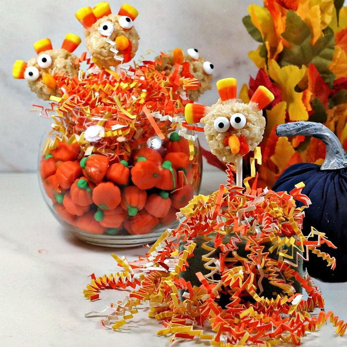 Rice Krispie turkey pops in a Thanksgiving display