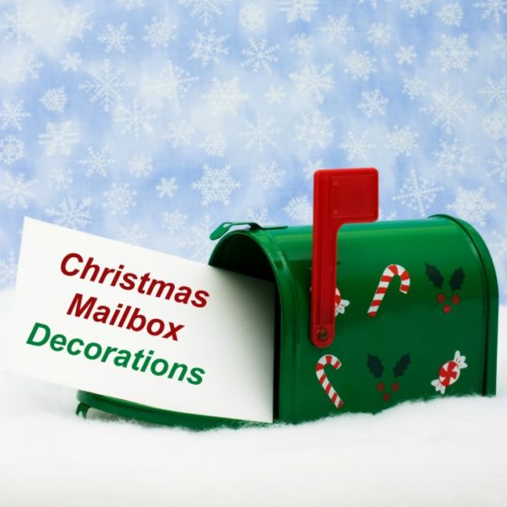 "Breen mailbox with stickers and red flag with text reading: ""Christmas mailbox decorations."""