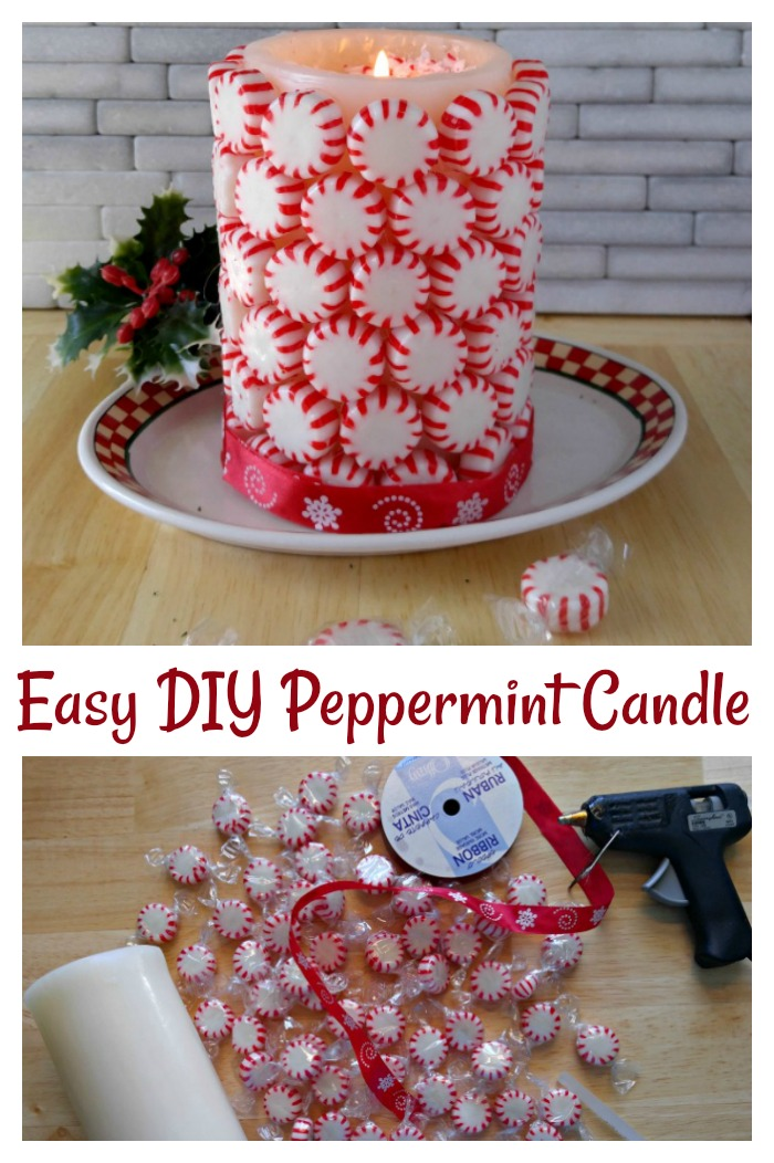 This DIY Peppermint Candle is simple to make and will have your home smelling great for the holidays.