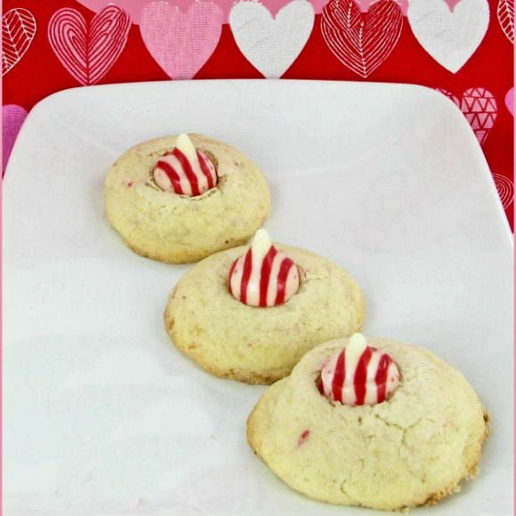this Peppermint cookie recipe uses red and white striped candy kisses