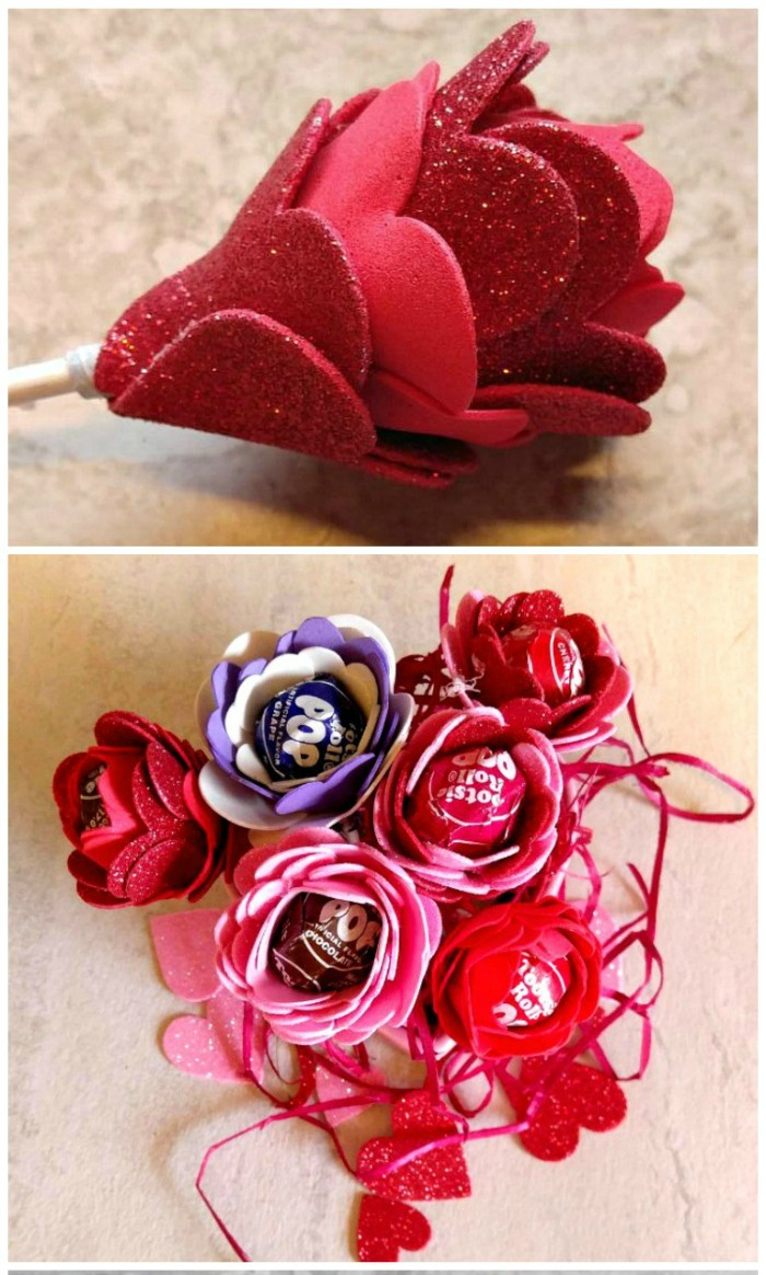 Lollipop flower valentines