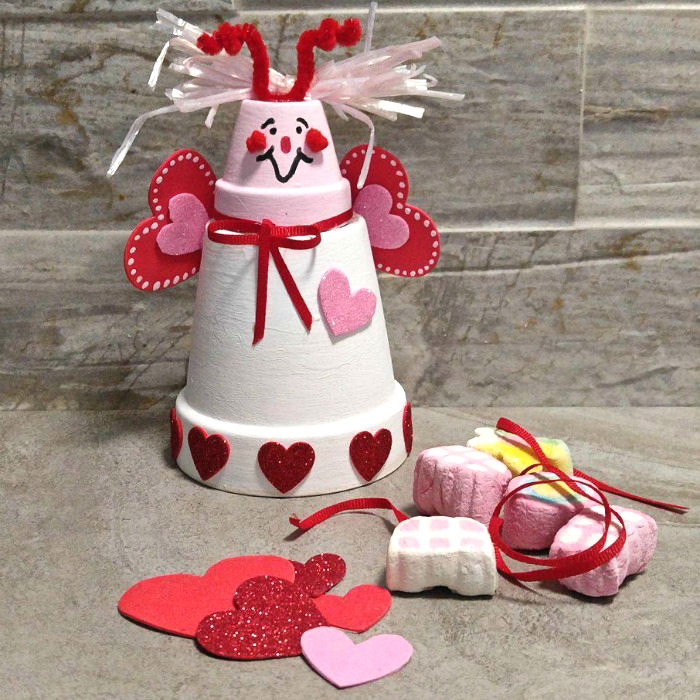 Clay pot love bug and Valentine's day marshmallow treats