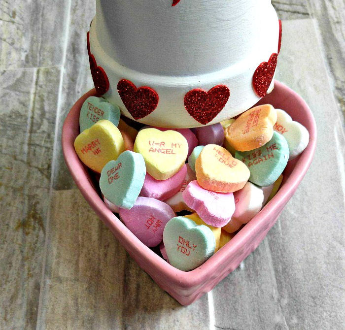 Conversation hearts in a candy dish