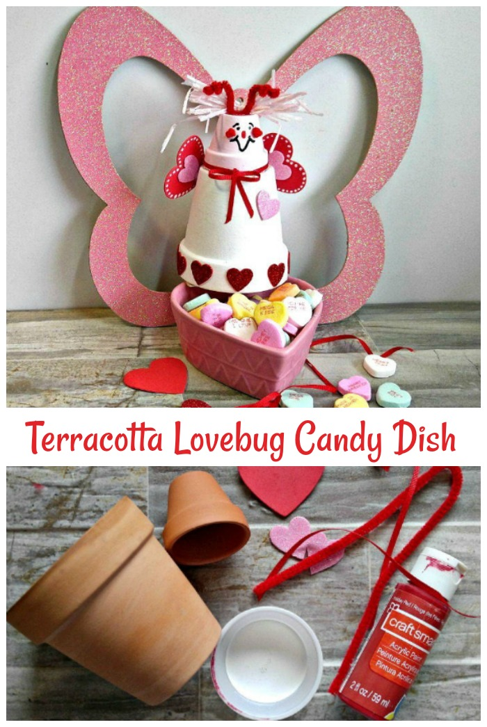 Clay pot love bug candy dish