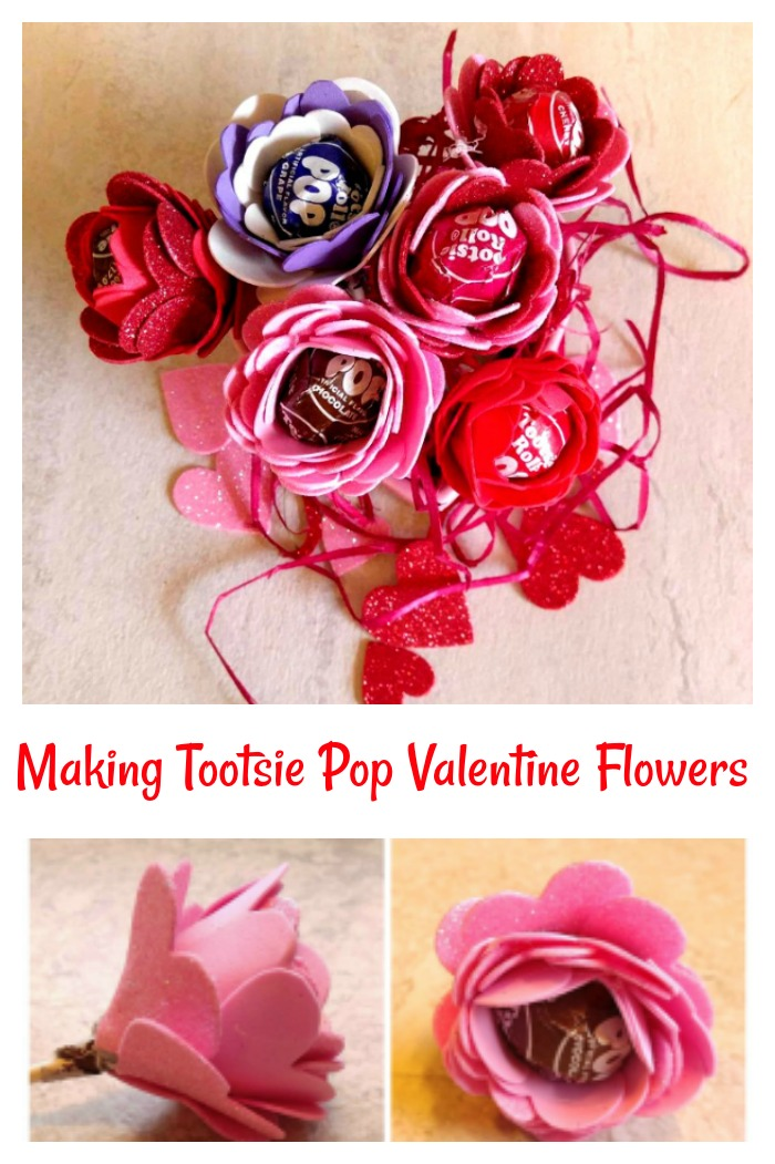 These tootsie pop flower valentines are easy to make with just a few supplies and a lollipop.