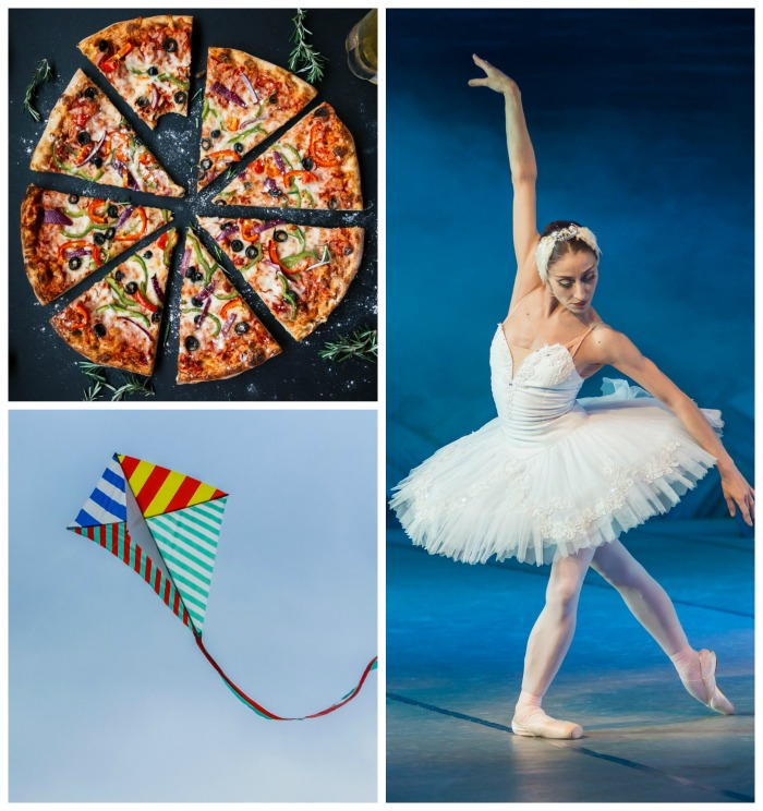 pizza, kite flying and ballet dancer