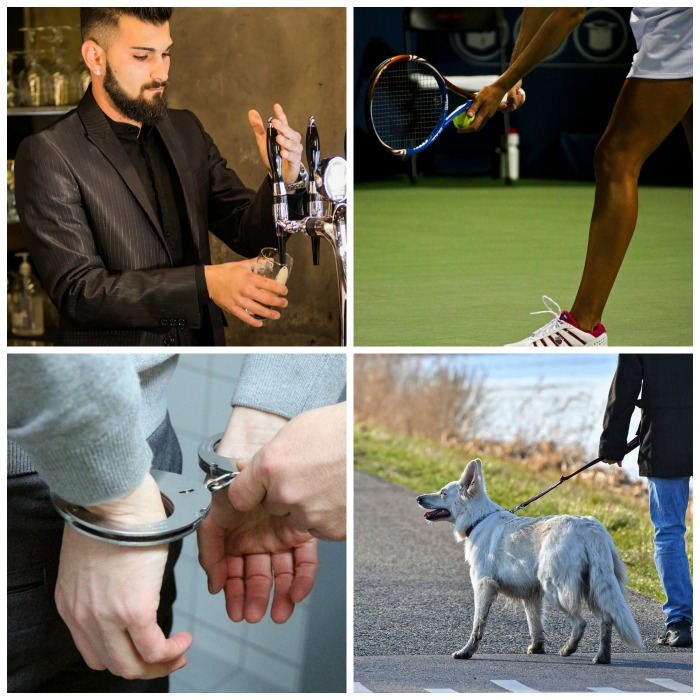 Barista, tennis player, handcuffs and dog walking