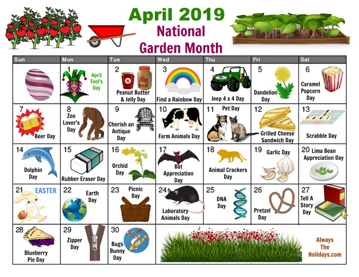 April National Days Calendar - free printable. Find out all about the national days in April.