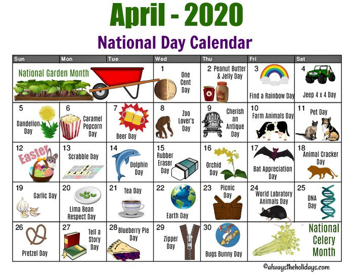 Free Printable Calendar for the month of April for National Days