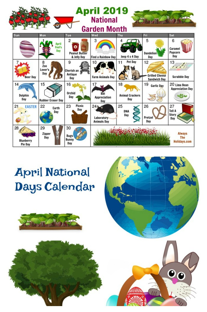Get The April Free Printable Calendar for fun national days in April
