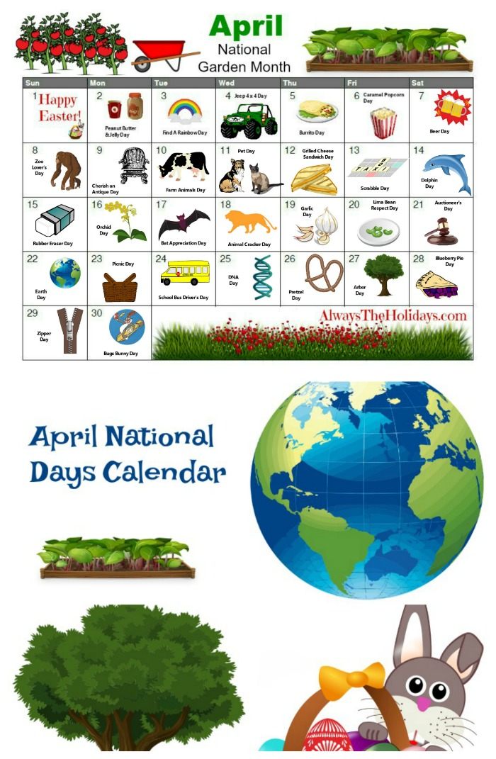 Print out a calendar for April National Days to use in planning recipes and craft projects for the month of April