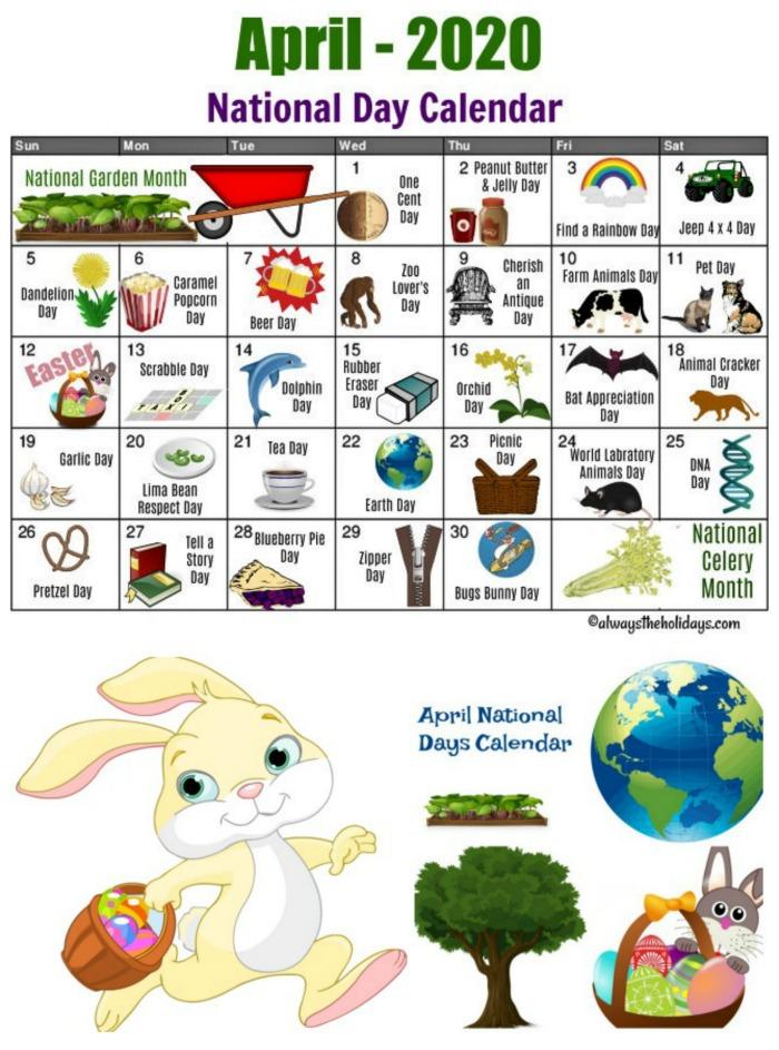 April National Day Calendar Printable