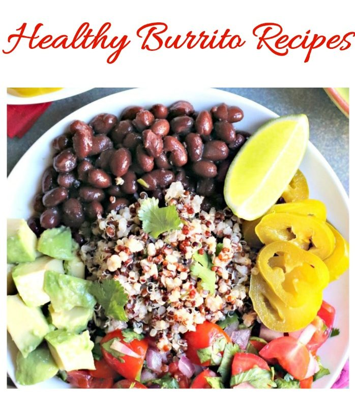 """The text """"healthy burrito recipes"""" above a burrito bowl with black beans, quinoa, avocado, and peppers."""