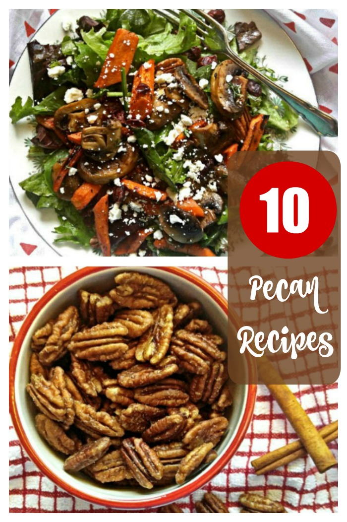 "A greens salad with cheese, mushrooms, carrots and pecans, above a bowl of pecans with a text overlay that reads ""10 pecan recipes""."