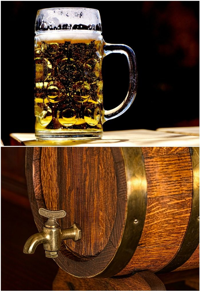 A mug of beer against a black background and a barrel with a tap filled with beer to celebrate National Beer Day.