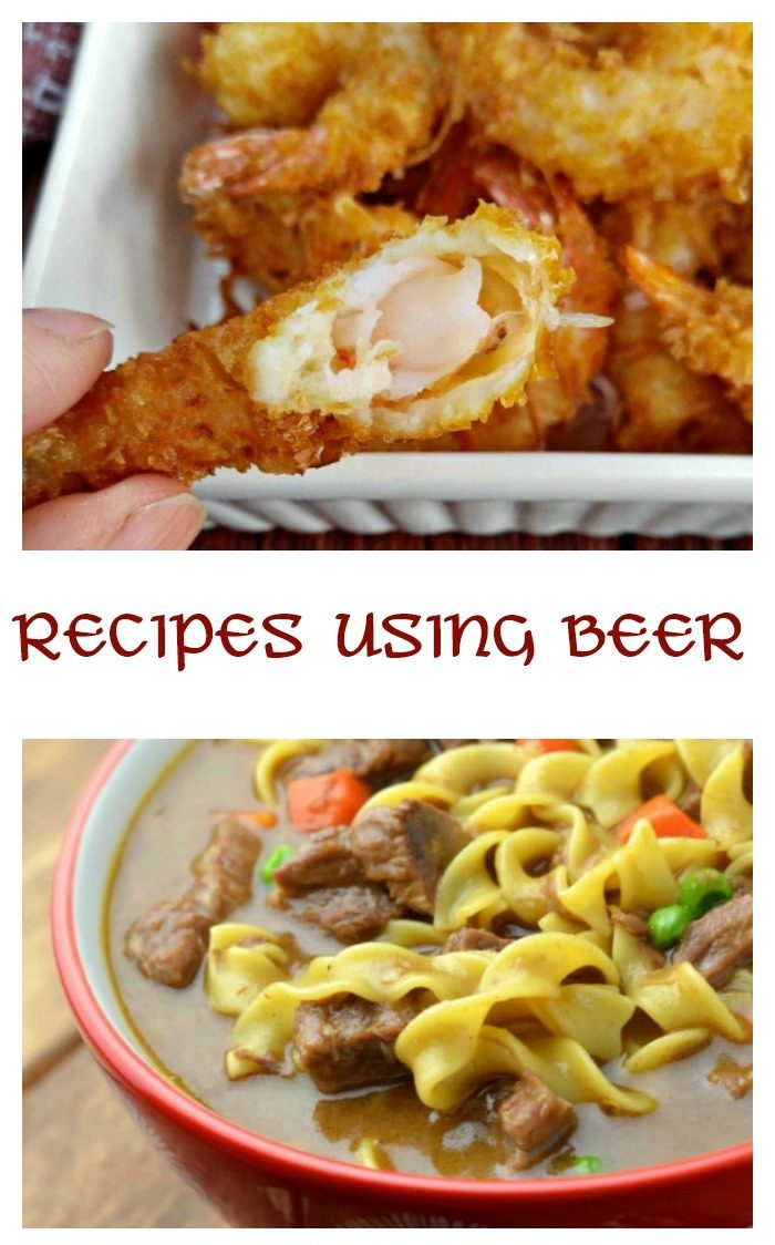 """The words """"recipes using beer"""" in between two beer recipes, the top one being beer battered shrimp, and the bottom being beef stew."""