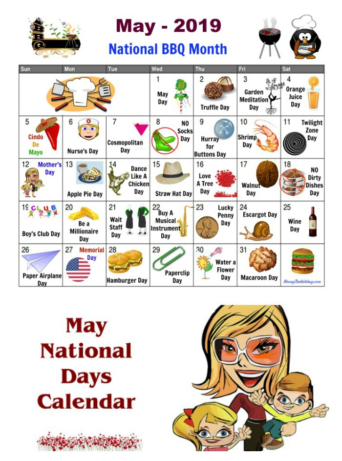 Get the May printable calendar of fun National Days in May