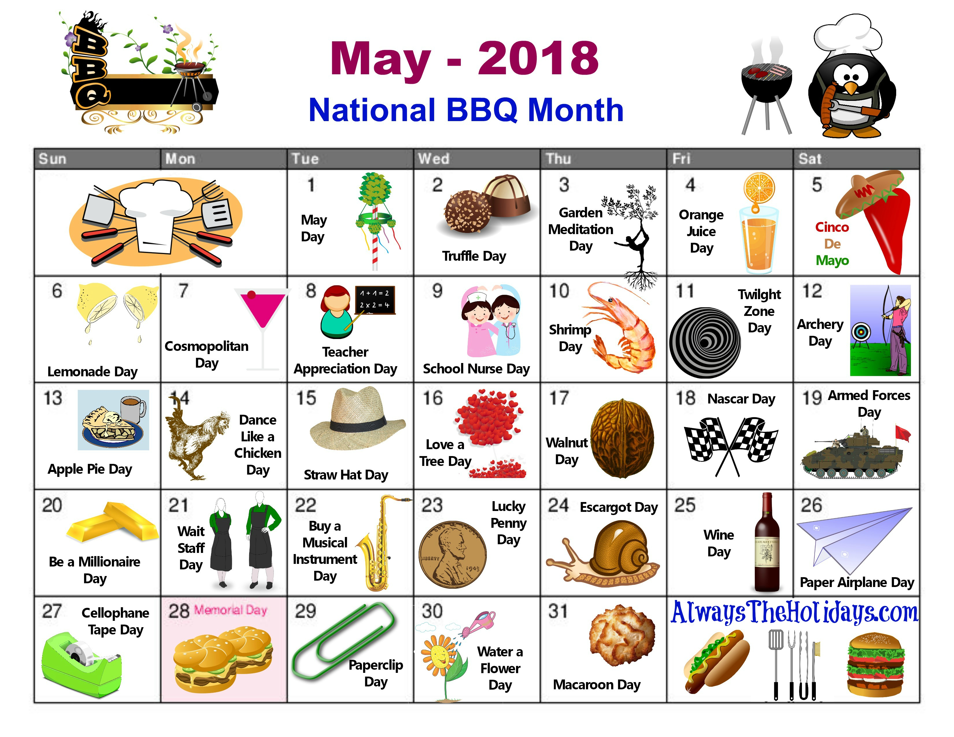 May National Day Calendar   Free Printable   Always The Holidays
