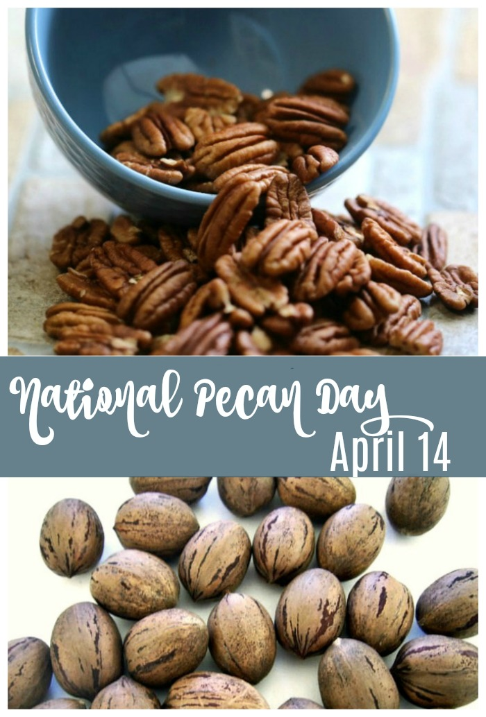 "A bowl of shelled pecans spilling onto a counter above a pile of pecans in their shells with a text overlay that reads ""National Pecan Day, April 14""."