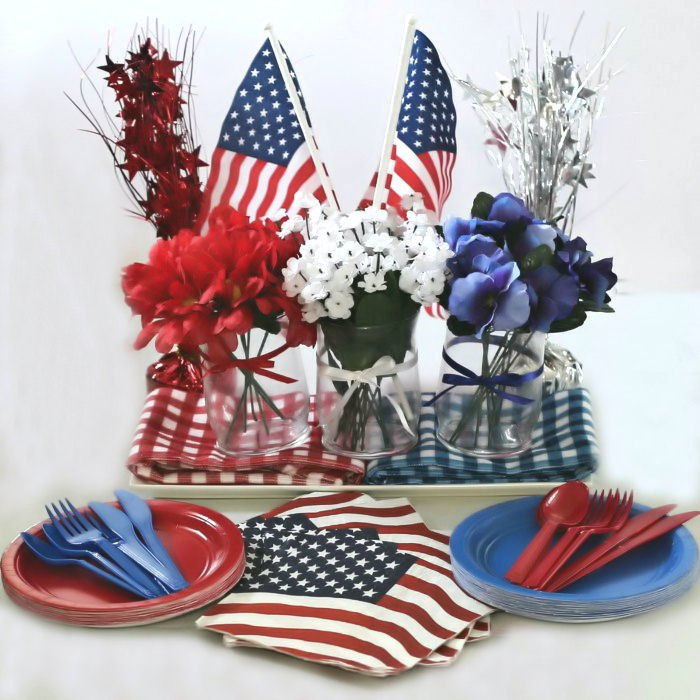 Patriotic decoration with a flower centerpiece for Memorial Day or the 4th of July