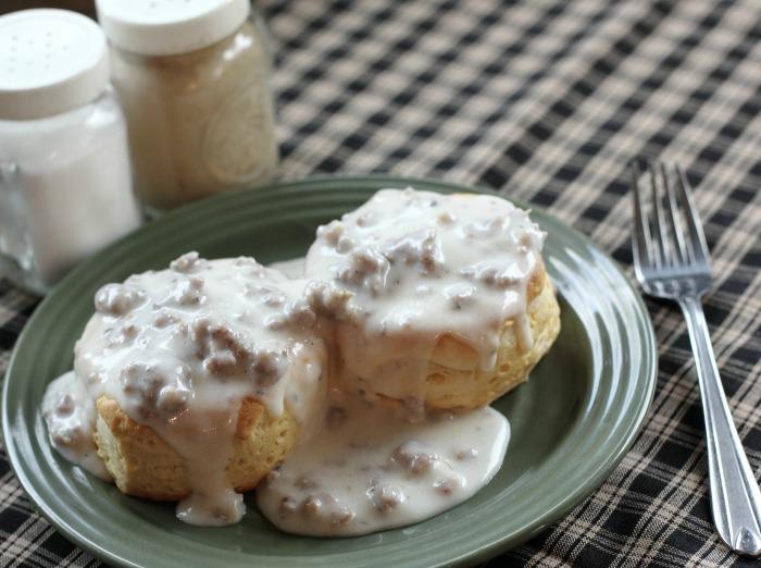 Buttermilk biscuits and gravy