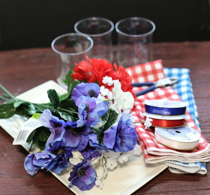 Supplies for the patriotic table centerpiece