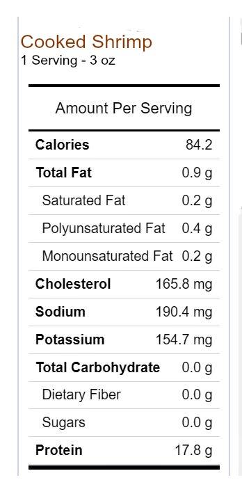 Shrimp nutritional information