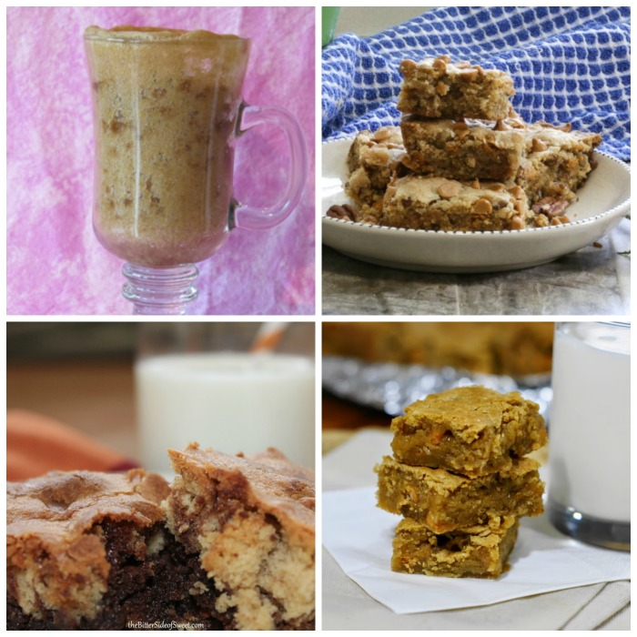 Four photos of different butterscotch blondie inspired recipes in a collage.