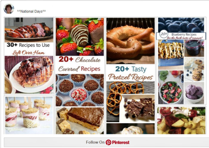 Pinterest National Days Board