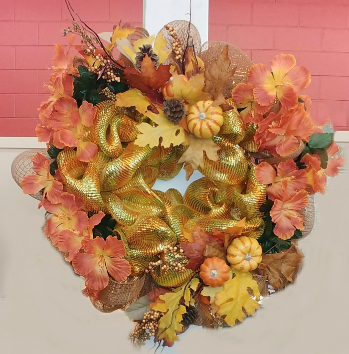 Orange and yellow fall wreath