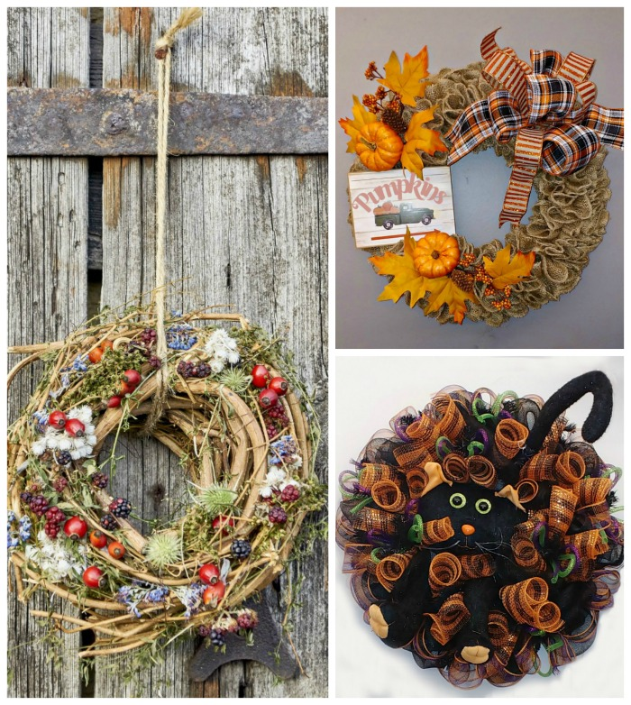 Check out these fall and Halloween wreaths to make. Lots of designs for your inspiration