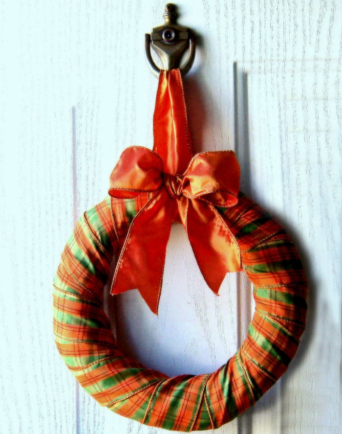Orange and green foam ribbon wreath