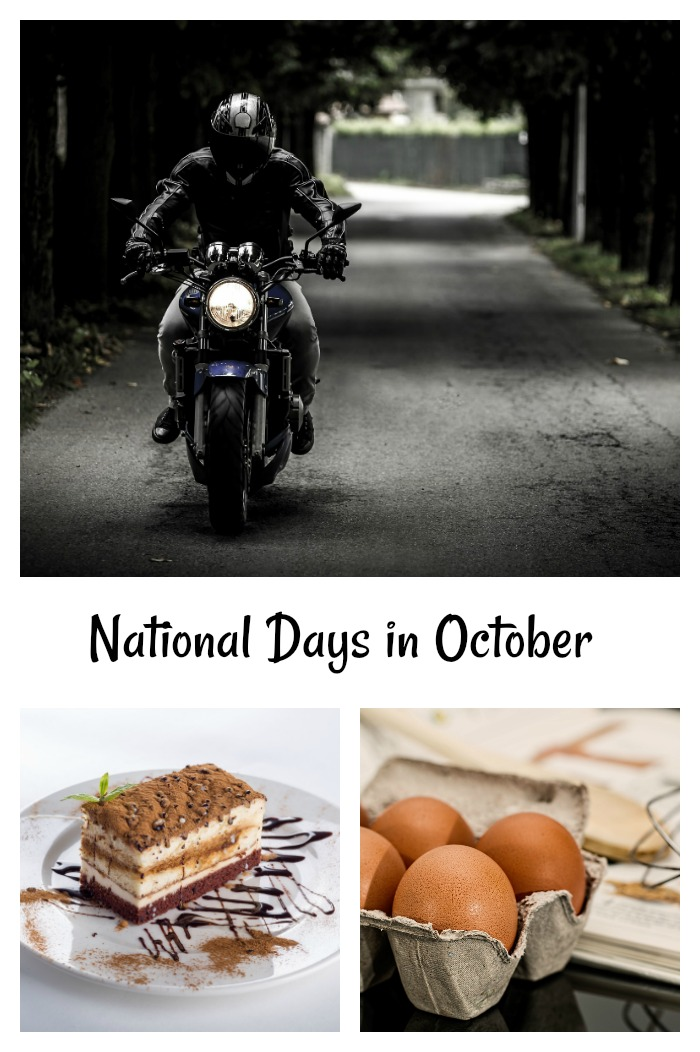 Motorcycle, dessert and eggs collage