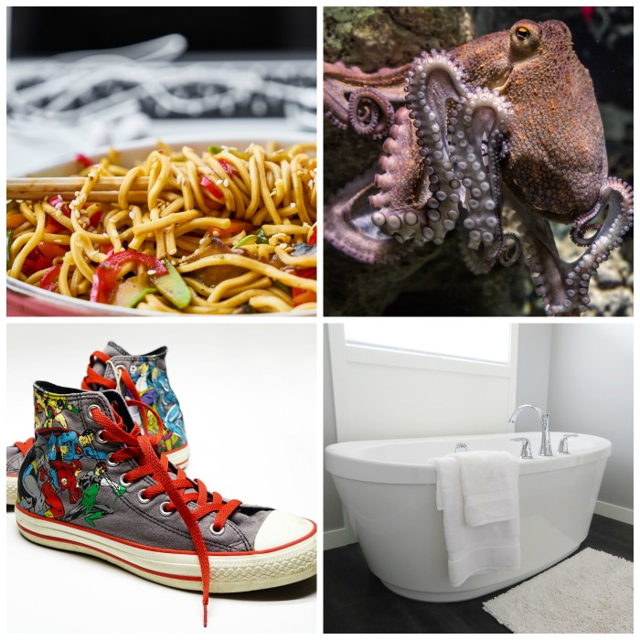 National noodles, octopus, sneakers and bathtub day