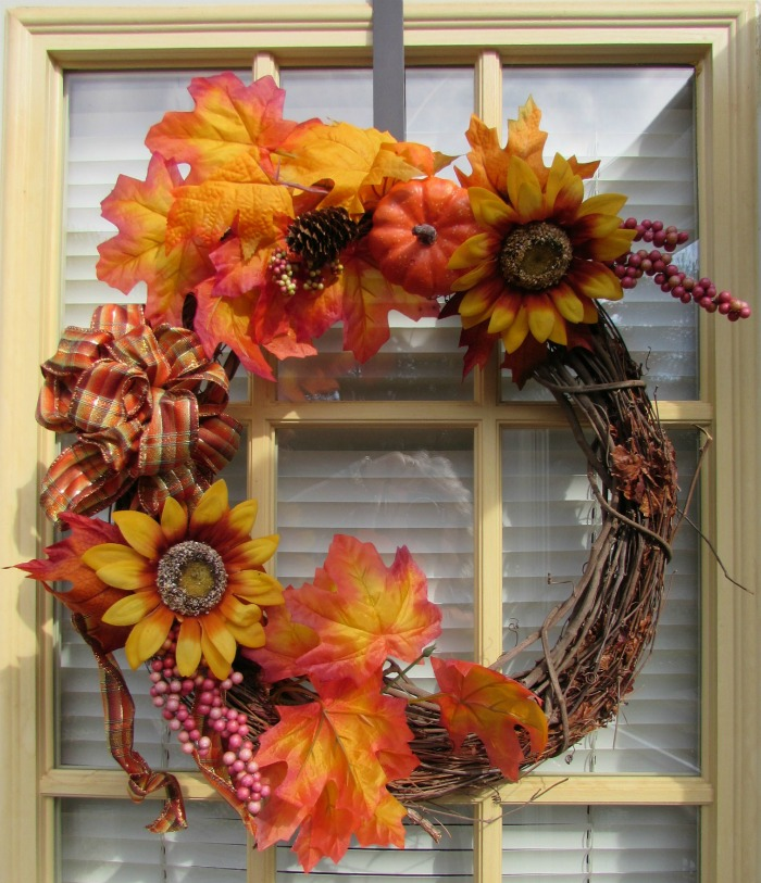 Pumpkin and sunflower grapevine wreath