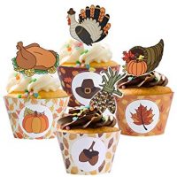 Amosfun 48 Pcs Thanksgiving Cupcake Toppers and Wrappers