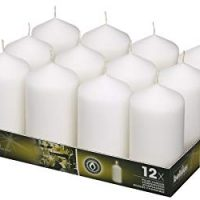 BOLSIUS Set Wedding Pillar Candles White 12Pk. 128 X 68mm (aprox 2.7x5 inch)