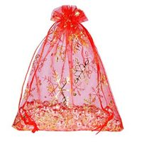 Housweety 25PCs 12cmx16cm Red Snowflake Organza Gift Bags Pouches Wedding/Christmas Gift