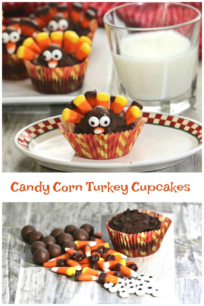 "Chocolate cupcakes shaped like turkeys with words reading ""Candy corn turkey cupcakes."""