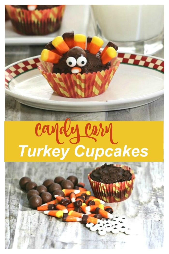 """Collage of a turkey cupcake and candy and cupcake on a counter with words reading """"Candy corn turkey cupcakes."""""""