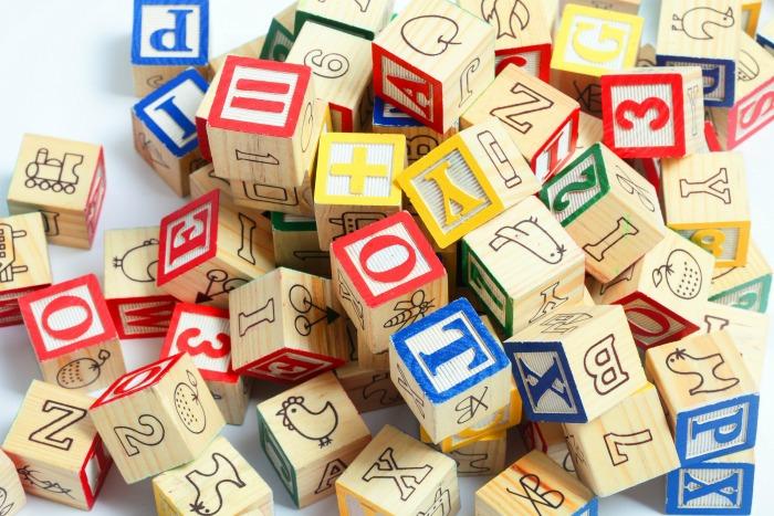 Pile of alphabet wooden blocks