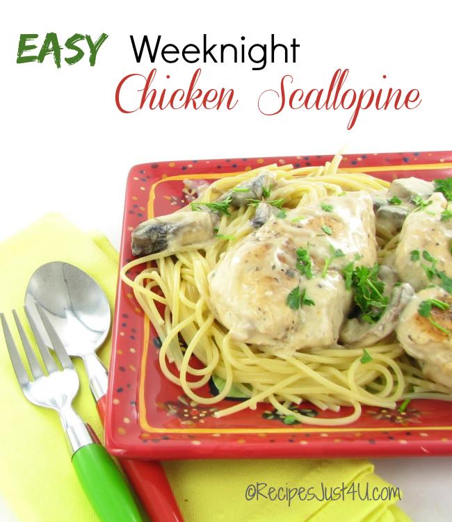 Easy chicken scallopine on spaghetti