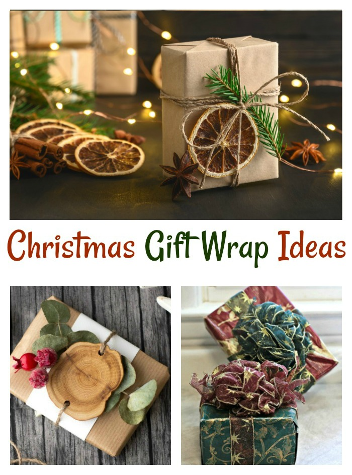 "eco-friendly gifts and presents with wire ribbon in a collage with text reading ""Christmas gfit wrap ideas."""
