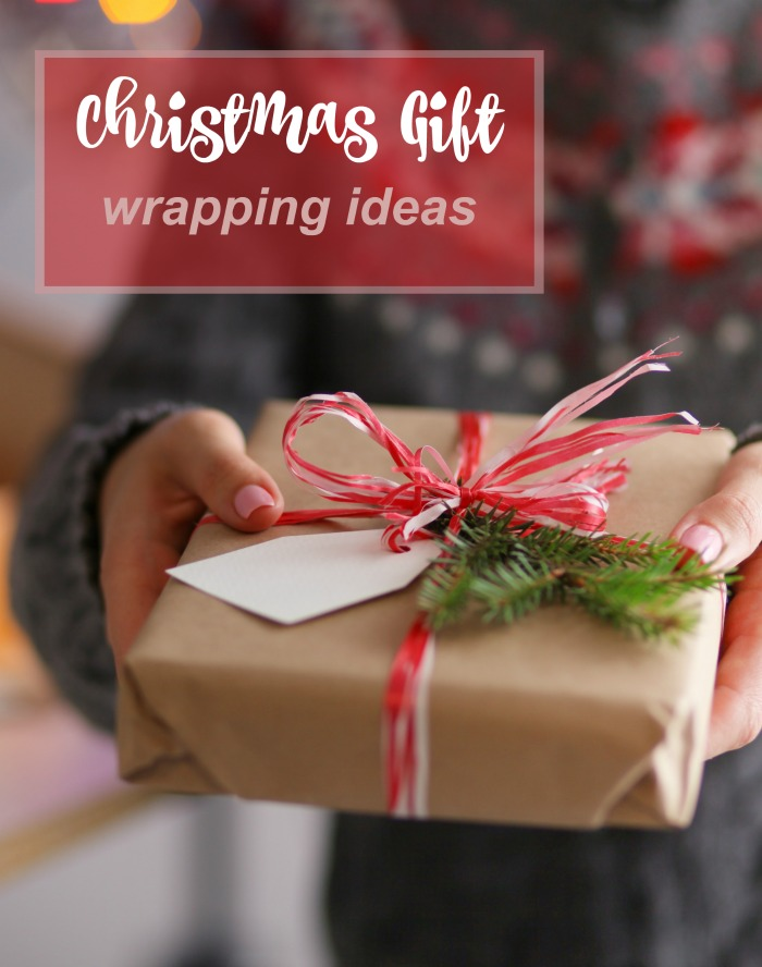 "Woman holding present with text reading :""Christmas gift wrapping ideas."""