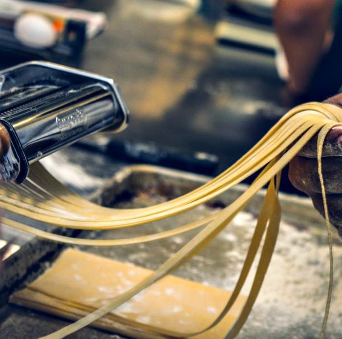 Making homemade spaghetti
