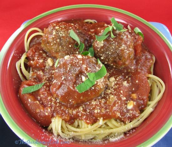 Savory Italian meatballs and spaghetti