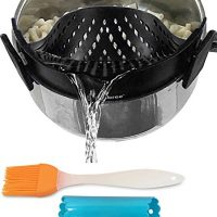 Clip-on kitchen food strainer for spaghetti, pasta, and ground beef grease, colander and sieve snaps on bowls, pots and pans, Set includes silicone strainer brush & garlic peeler by Salbree, Black