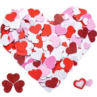 Tatuo 600 Pieces Foam Heart Foam Adhesive Hearts Stickers Valentine's Day Foam Heart Stickers for Arts Craft, Greeting Cards, Scrapbook Decoration (Foam Glitter Stickers)